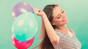 Woman summer joyful girl with colorful balloons Stock Photo
