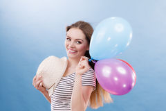 Woman summer joyful girl with colorful balloons Royalty Free Stock Image