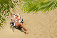 Woman at the summer lounge royalty free stock photography
