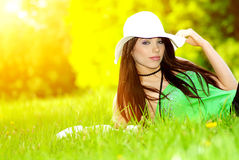 Woman in summer park. Royalty Free Stock Images