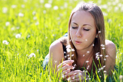 Woman in summer park Royalty Free Stock Photo