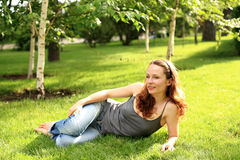 Woman in summer park Stock Photo