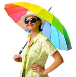 Woman summer rainbow umbrella Royalty Free Stock Photo