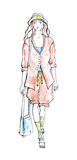 Woman in summer suit. Fashion sketch Stock Image