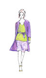 Woman in summer suit. Fashion sketch Royalty Free Stock Photos