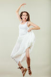 Woman in summer white dress jumping Royalty Free Stock Photos