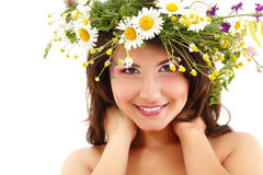Woman with summer wild flowers Royalty Free Stock Photography