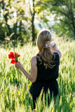Woman in a summery field Stock Images