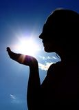 Woman with sun royalty free stock photo