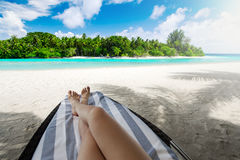 Woman on sun bed under palm tree at tropical island. Woman on sunbed under palm tree at tropical island Stock Images