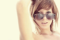 Woman in sun glasses.   Royalty Free Stock Image