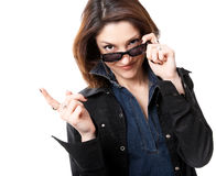 Woman with sun glasses Stock Photos