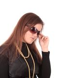 Woman in sun glasses, isolated. Royalty Free Stock Photography
