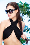 Woman with sun glasses and long hair Stock Photo