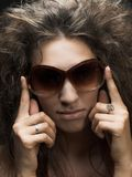 Woman in sun glasses Stock Photos