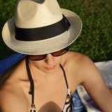 woman with sun hat Stock Image