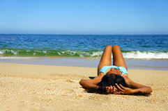 Woman Sun Tanning Royalty Free Stock Images