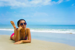 Woman Sun Tanning Royalty Free Stock Image