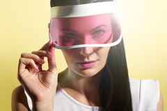 Woman in a sun visor Stock Images