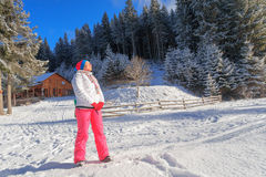 Woman  sun, winter, snow, resort, vacation Stock Images