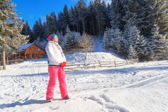 Woman  sun, winter, snow, resort, vacation Stock Image