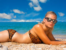 A woman sunbathes on a beach Royalty Free Stock Image