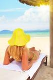Woman sunbathing Royalty Free Stock Image