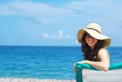 Woman sunbathing royalty free stock images