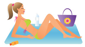 Woman sunbathing Royalty Free Stock Photo