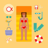 Woman sunbathing beach suntan travel vacation flat vector Royalty Free Stock Images