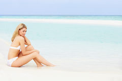 Woman Sunbathing On Beautiful Beach Holiday Royalty Free Stock Photo