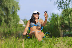 Woman sunbathing in bikini Royalty Free Stock Photo