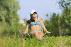 Woman sunbathing in bikini Royalty Free Stock Images