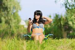 Woman sunbathing in bikini Royalty Free Stock Photography