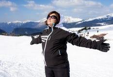 Woman Sunbathing Snow Mountain Vacation Stock Photography
