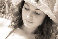Woman in sunbeams Royalty Free Stock Image