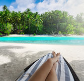Woman on sunbed under palm tree Stock Photos