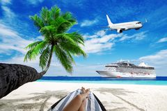 Woman on sunbed under palm tree. Cruise liner and airplane over ocean. Travel background Royalty Free Stock Photos