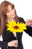 Woman with a sunflower Royalty Free Stock Photography