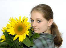 Woman with sunflower Royalty Free Stock Photos