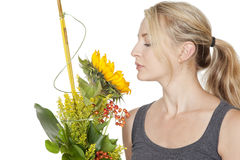 Woman with sunflower bouquet Stock Photo