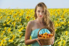 Woman in sunflower chain with a basket of fruit Royalty Free Stock Photo