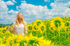 Woman in sunflower field Stock Photos