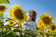 Woman With Sunflower Royalty Free Stock Photo