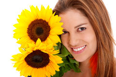 Woman with sunflowers Royalty Free Stock Images