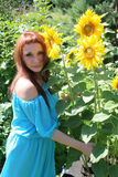 Woman with sunflowers Stock Images