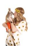Woman sunflowers headband kiss kangaroo Stock Photography