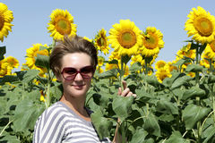 Woman among sunflowers Stock Image