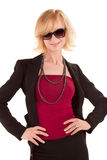 Woman with sunglass posing on white Royalty Free Stock Image
