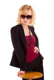 Woman with sunglass posing on white Royalty Free Stock Photo
